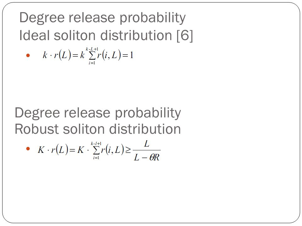 Degree release probability Ideal soliton distribution [6]